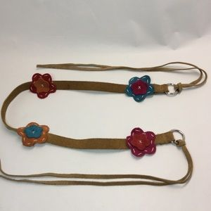 Accessories - Tan suede leather belt with boho flowers and ties